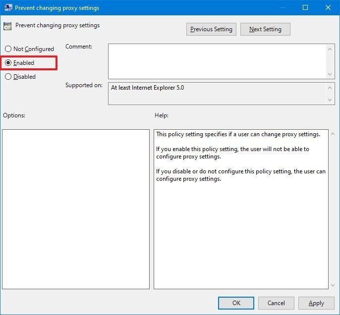 Disable substitute settings on Windows 10 with gpedit